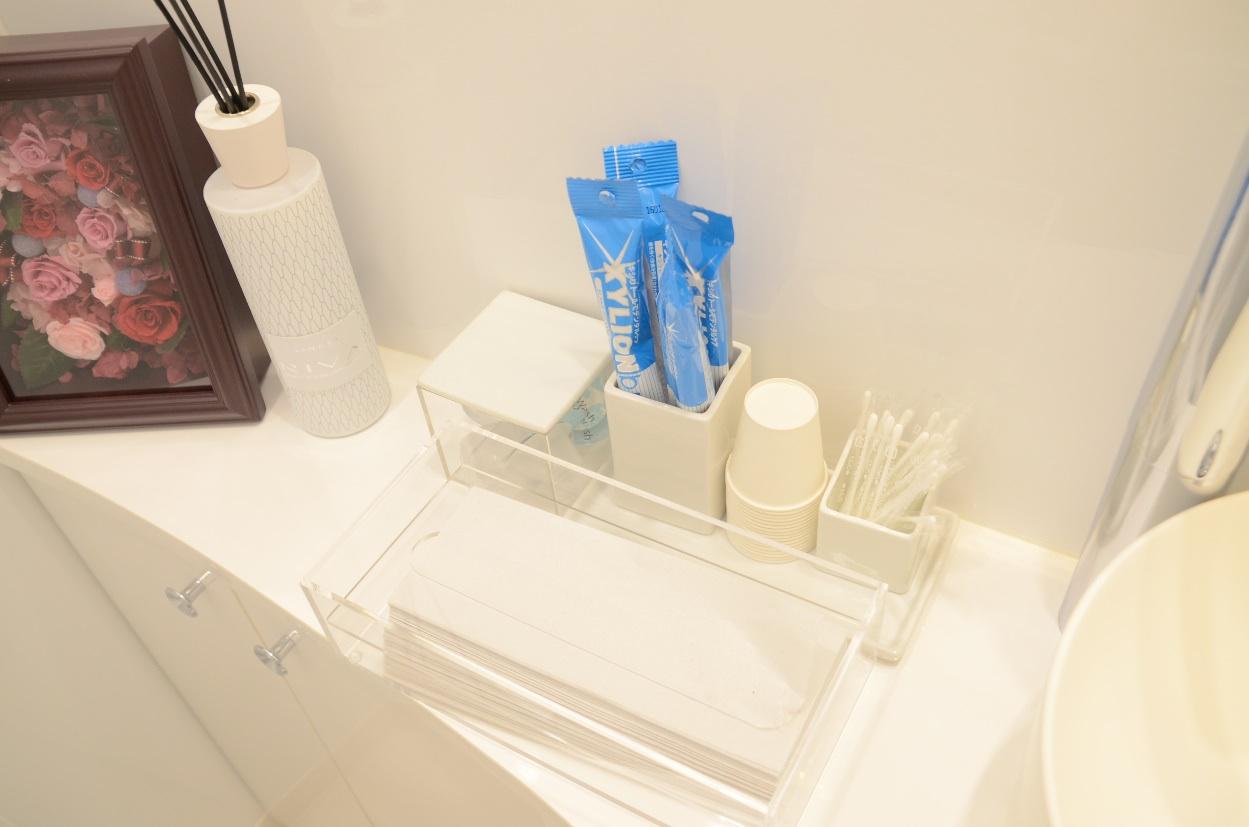 アメニティグッズが充実した日本橋はやし矯正歯科のお手洗い